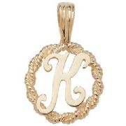 9ct Gold Round rope edged Initial letter K pendant 0.8g